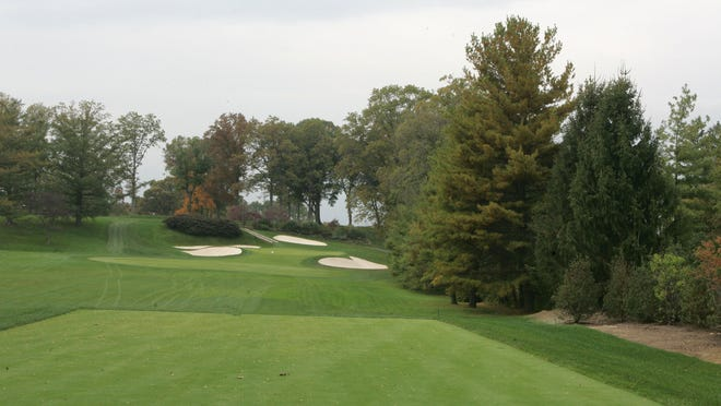 The sixth hole on the east course at Winged Foot Golf Club in Mamaroneck. Two ATVs badly damaged the course.