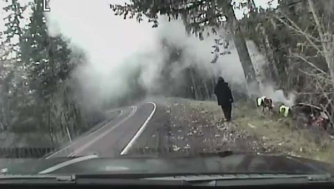A still from dashcam footage of a crash on Highway 223.