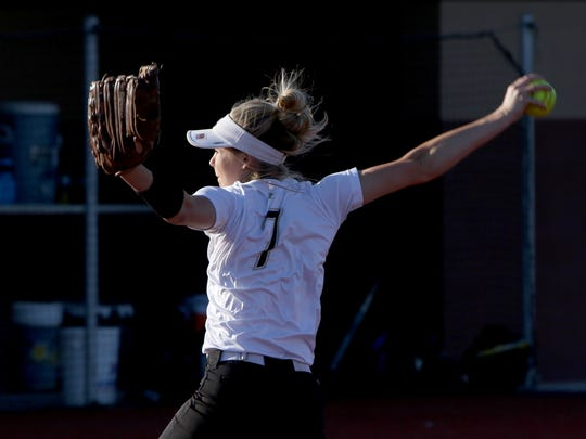 Henrietta's Haleigh Hogan pitches against Brock Friday, May 11, 2018, in Game 1 of the Region I-3A quarterfinals in Bowie. Game 2 is Saturday at 2 p.m. in Graford.