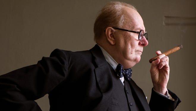 "Gary Oldman strikes the pose as Winston Churchill in ""Darkest Hour."""