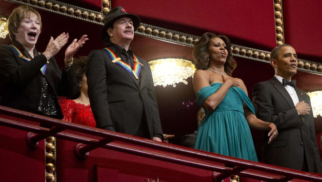 Kennedy Center Honorees such as actress Shirley MacLaine and musician Carlos Santana were feted by President and Mrs. Obama at the 2013 ceremony Sunday.