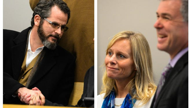 A Lansing District Court judge ruled Thursday that Michigan House of Representatives Speaker Kevin Cotter can be called to testify during the preliminary hearing for former lawmakers Todd Courser, right, and Cindy Gamrat.