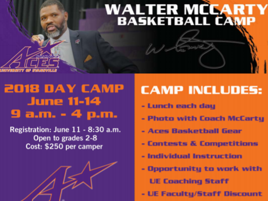 Walter McCarty Basketball Camp brochure.