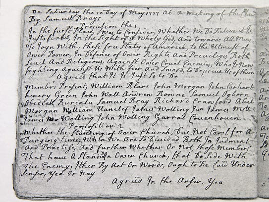 A copy of a letter preserved by The Old First Baptist