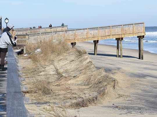 Beach erosion and Dune Breech in downtown Bethany Beach.