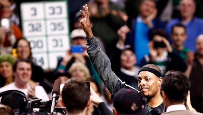Paul Pierce acknowledges the Boston crowd after a video tribute to his time with the Celtics.