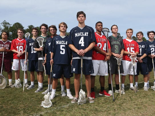 The All-Big Bend lacrosse first team. From left: Zeke