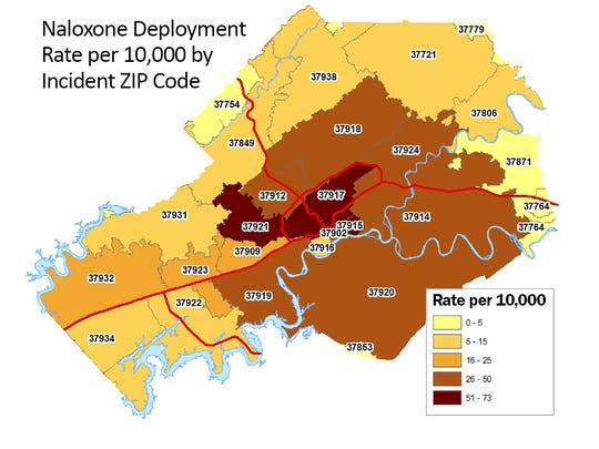 Which Knox County ZIP codes have the most overdose calls based on population?