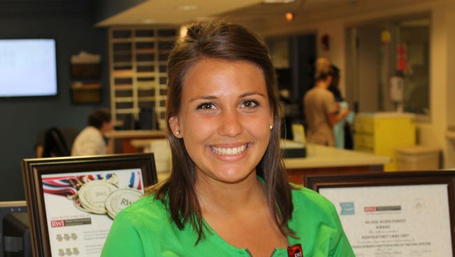 A nurse at Robert Wood Johnson University Hospital in New Brunswick, N.J., Courtney Donlon, 22, helped save the life of a fellow JetBlue passenger on a flight Monday, May 22, 2017.