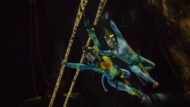"A scene from Cirque du Soleil's ""Avatar""-inspired show ""Toruk - The First Flight,"" featuring costumes by Kym Barrett."