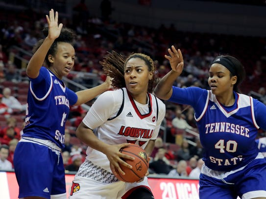 Louisville's Bionca Dunham, in a game against TSU.