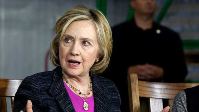 Democratic presidential candidate Hillary Rodham Clinton speaks during a round table discussion at Smuttynose Brewery, Friday, May 22, 2015, in Hampton,NH (AP Photo/Jim Cole)