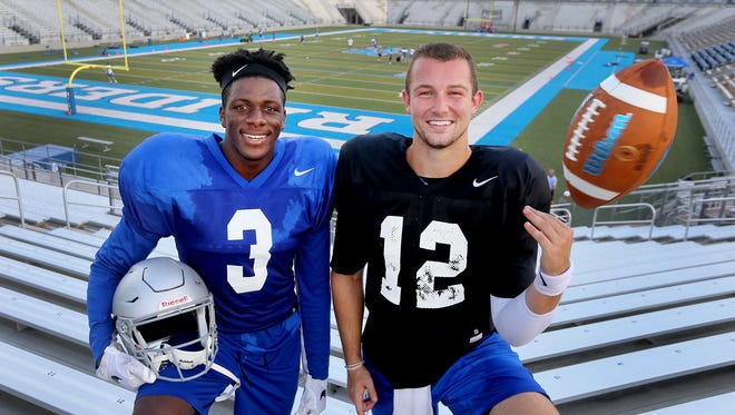 "MTSU's wide receiver Richie James (3) and quarterback Brent Stockstill (12) are friends both on and off the field. Photo taken at Johnny ""Red"" Floyd stadium after practice, on Wednesday, Aug. 2, 2017."