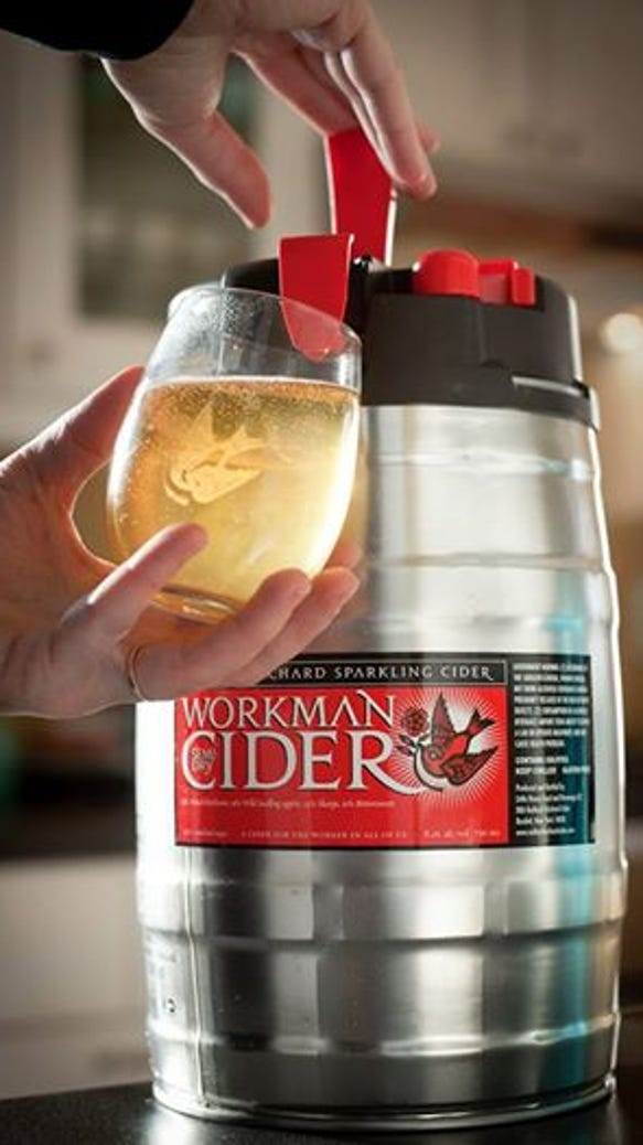 Schuyler County-based Redbyrd Orchard Cider has begun packaging two its products in small kegs.  Photo by Jason Koski.