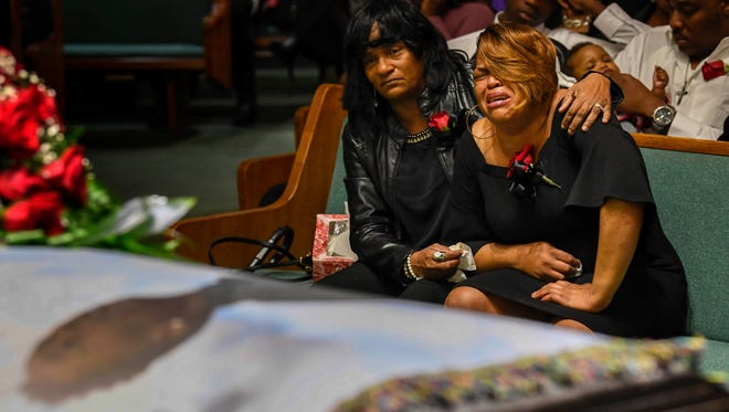 Jeremiah Shelton-Barbee's aunt Denise Hereford is comforted by his great auntie Annette Shelton after they close his casket during his funeral at Jackson Street Church of Church, in Nashville, Tenn., Friday, Feb. 16, 2018.