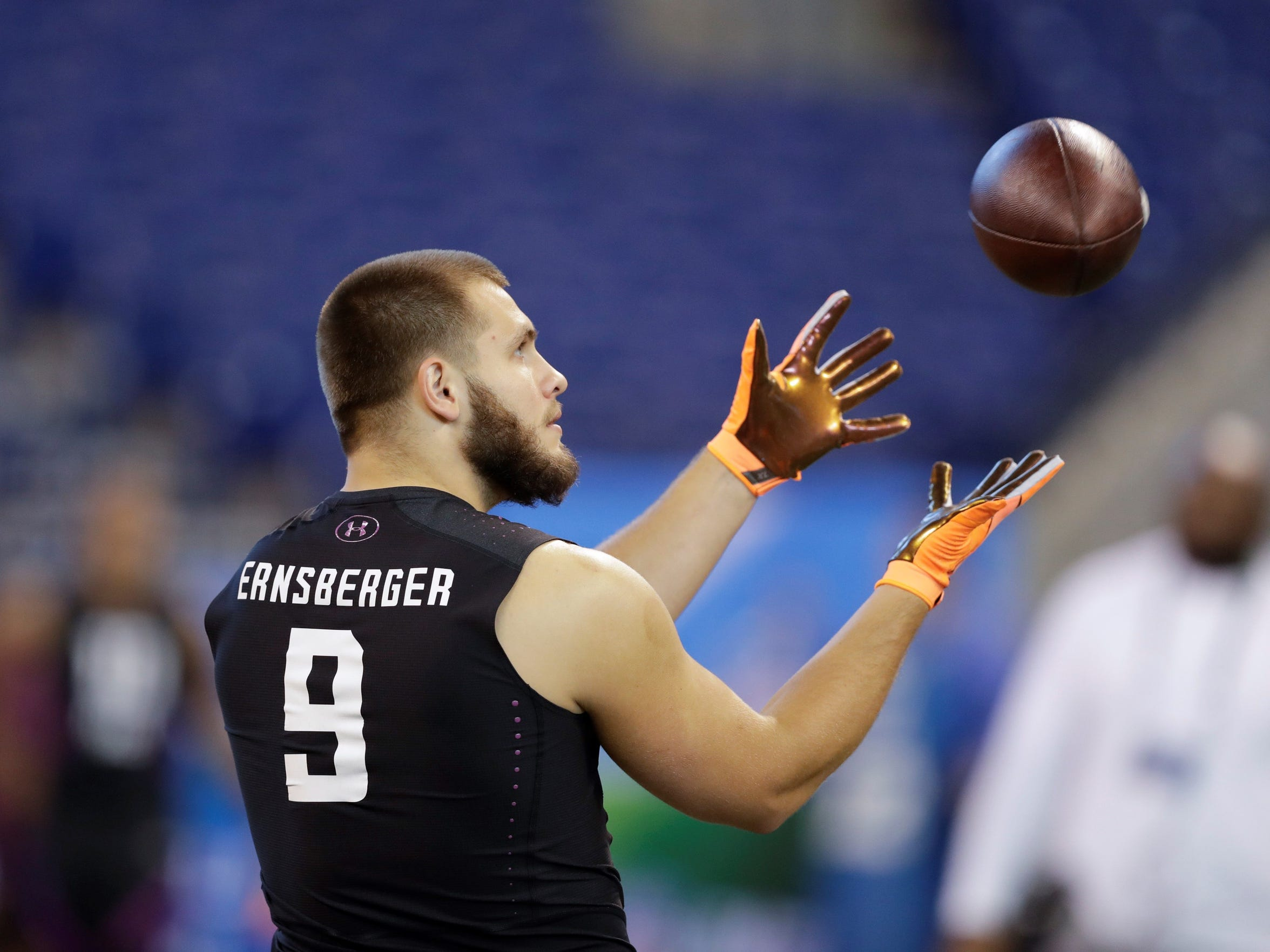 Running back Donnie Ernsberger Western Michigan running back Donnie Ernsberger runs a drill during the NFL football scouting combine, Friday, March 2, 2018, in Indianapolis.