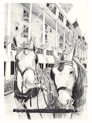 Pen and ink drawings by Chuck Schroeder are on display