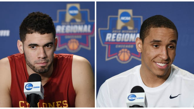 Iowa State's Georges Niang (left) and Virginia's Malcolm Brogdon.
