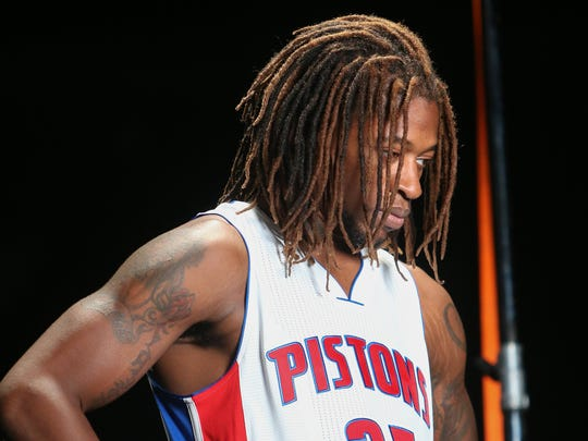 Detroit Pistons forward Cartier Martin poses for a video during media day Sept. 28, 2015, at the Palace of Auburn Hills.