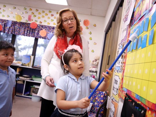 Diane Oxley teaches her kindergarteners about the calendar at The Ocean Academy Charter School in Lakewood. The school just opened in September. They teach about 160 kids in K-2nd grade. Lakewood, New Jersey. Monday, April 16, 2018.