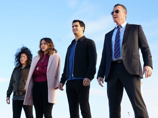 "Jadyn Wong, Katharine McPhee, Elyes Gabel and Robert Patrick are a high-tech team on CBS drama ""Scorpion."""