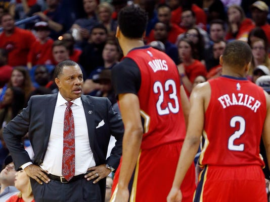 New Orleans Pelicans head coach Alvin Gentry reacts in the second half of an NBA basketball game against the Denver Nuggets in New Orleans, Wednesday, Oct. 26, 2016. The Nuggets won 107-102. (AP Photo/Gerald Herbert)