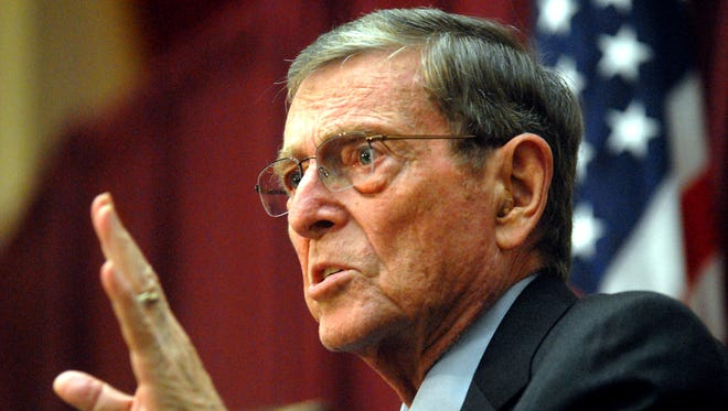Former U.S. Sen. Pete V. Domenici speaks during the Domenici Public Policy Conference held at New Mexico State University in 2010.
