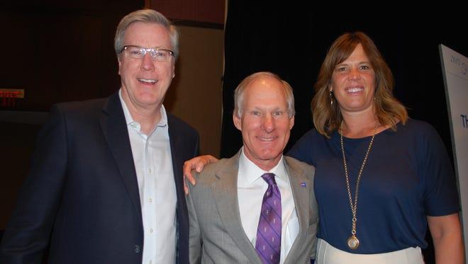 From left: Iowa basketball coach Fran McCaffery, American Cancer Society board chairman Robert Youle and Margaret McCaffery.