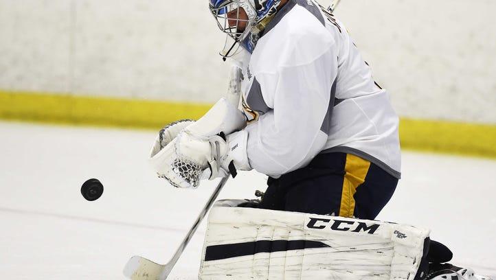 Goaltender Juuse Saros was named to the AHL's All-Rookie Team last season.