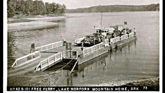 The Norfork Lake ferries were popular on postcards for visitors to the area.