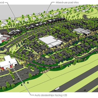 A rendering of a proposed auto dealership complex south