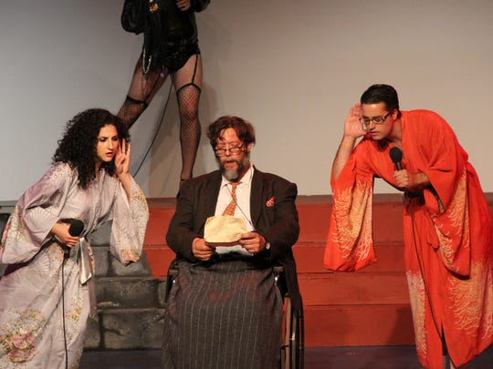 """From left, Sarah Lazar as Janet, Charlie King as Dr. Scott and Cody Stiglich as Brad in """"Rocky Horror Show' at Barn Theatre."""