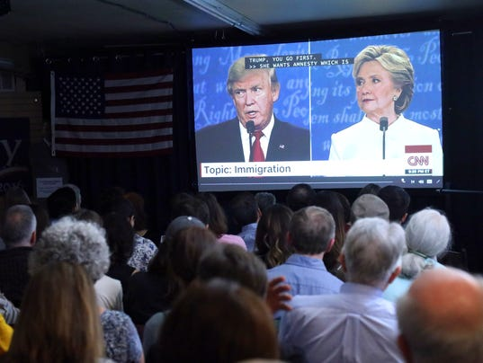 A presidential debate watch party held by the Democratic Volunteer Center of Mountain View, in Mountain View, Calif..