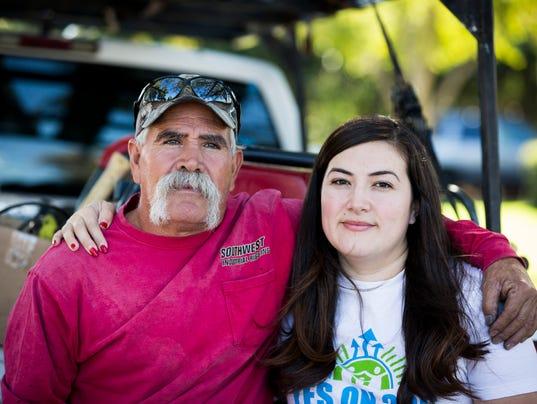 Gonzalo Gomez and his daughter Alejandra Gomez, a Latino activist, in Phoenix.