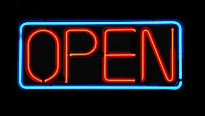 """An """"open"""" sign."""