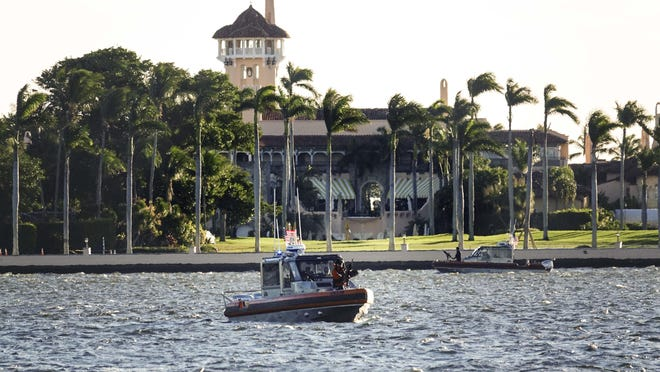 U.S. Coast Guard boats patrol the waters near Mar-a-Lago during President Trump's stay on Jan. 5.
