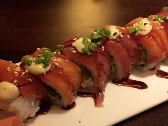 Bukko's Don Won roll offers salmon, tuna and scallions on top.