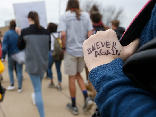 At least 300 students at Kickapoo High School walked out of class at 10:30 a.m. on Friday, March 23, 2018 in response to the fatal school shooting in Parkland, Florida and to raise awareness to gun violence. About 40 students rallied in front of the school to show their support for the 2nd Amendment.