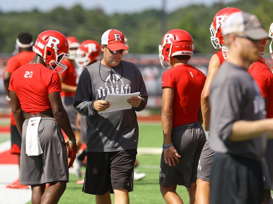 Ruston practices on Thursday, September 15, 2016, in advance of its game at Airline High School.