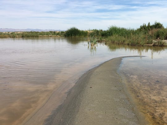 Fresh water flows into the Salton Sea at the mouth