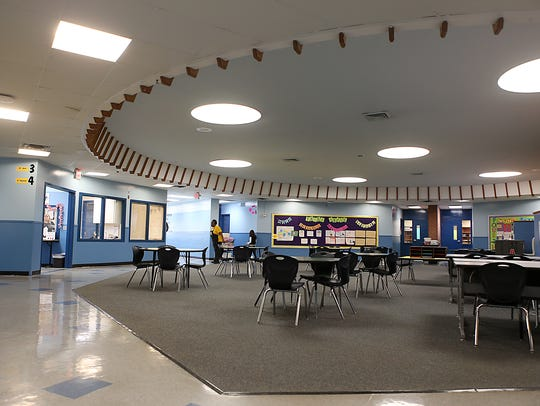 The main entrance to Bowie Elementary leads into classroom