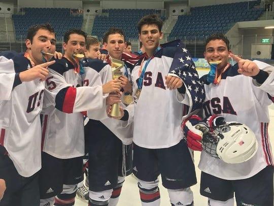 Ben Tartakovsky (far right) celebrates Team USA's gold