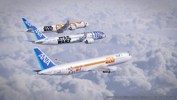 An image of all three of ANA's Star Wars-themed jets.