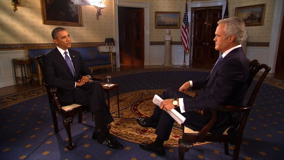 In this handout photo provided by CBS News, President