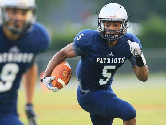 Powdersville's EJ Humphrey (5) runs against Crescent during the Anderson County Jamboree at Palmetto High School in Williamston.
