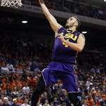 LSU Tigers guard Keith Hornsby (4) makes a layup against the Auburn Tigers during the first half at Auburn Arena.