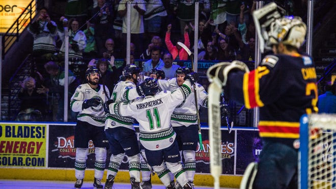 The everblades celebrate after scoring a goal during game 5 of the Kelly Cup Finals against the Colorado Eagles at Germain Arena on Saturday, June 2, 2018.