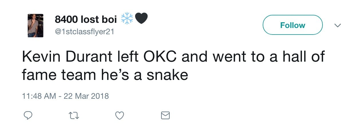 Kevin Durant trolls critics with snake