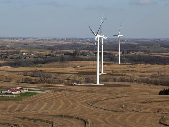 Wind project turbine farm in rural Macksburg.