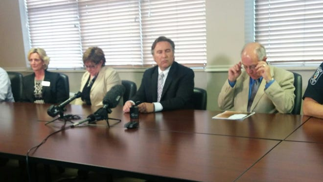 Williamson County Director of Schools Mike Looney and other county officials address a recent string of school threats Thursday evening.